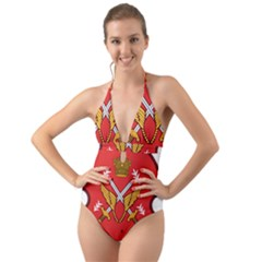 Seal Of The Imperial Iranian Army Aviation  Halter Cut Out One Piece Swimsuit