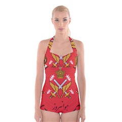 Seal Of The Imperial Iranian Army Aviation  Boyleg Halter Swimsuit