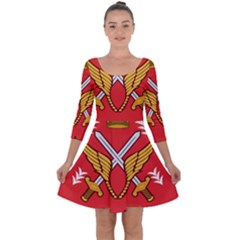 Seal Of The Imperial Iranian Army Aviation  Quarter Sleeve Skater Dress