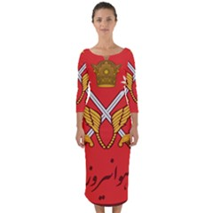 Seal Of The Imperial Iranian Army Aviation  Quarter Sleeve Midi Bodycon Dress