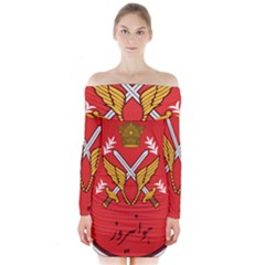 Seal Of The Imperial Iranian Army Aviation  Long Sleeve Off Shoulder Dress