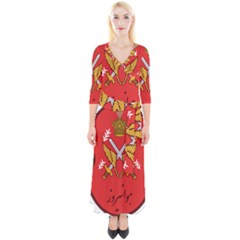 Seal Of The Imperial Iranian Army Aviation  Quarter Sleeve Wrap Maxi Dress