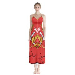 Seal Of The Imperial Iranian Army Aviation  Button Up Chiffon Maxi Dress