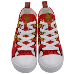 Seal Of The Imperial Iranian Army Aviation  Kid s Mid Top Canvas Sneakers
