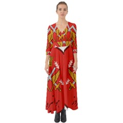 Seal Of The Imperial Iranian Army Aviation  Button Up Boho Maxi Dress