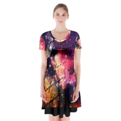 Letter From Outer Space Short Sleeve V Neck Flare Dress