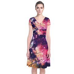 Letter From Outer Space Short Sleeve Front Wrap Dress