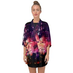 Letter From Outer Space Half Sleeve Chiffon Kimono