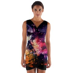Letter From Outer Space Wrap Front Bodycon Dress