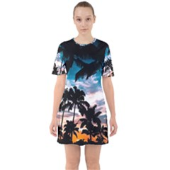 Palm Trees Summer Dream Sixties Short Sleeve Mini Dress