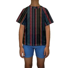 Multicolored Dark Stripes Pattern Kids  Short Sleeve Swimwear