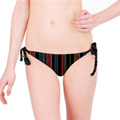 Multicolored Dark Stripes Pattern Bikini Bottom