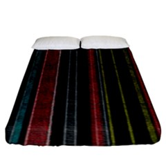 Multicolored Dark Stripes Pattern Fitted Sheet (king Size)