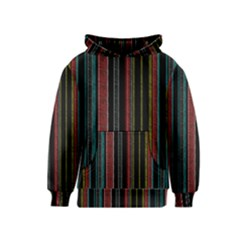 Multicolored Dark Stripes Pattern Kids  Pullover Hoodie