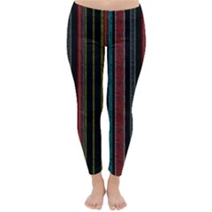Multicolored Dark Stripes Pattern Classic Winter Leggings