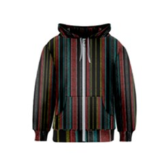 Multicolored Dark Stripes Pattern Kids  Zipper Hoodie