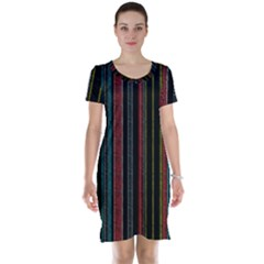 Multicolored Dark Stripes Pattern Short Sleeve Nightdress