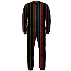 Multicolored Dark Stripes Pattern Onepiece Jumpsuit (men)