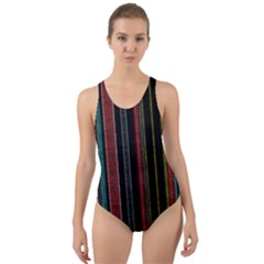 Multicolored Dark Stripes Pattern Cut Out Back One Piece Swimsuit