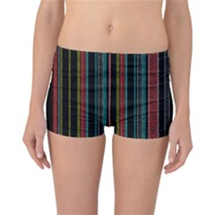 Multicolored Dark Stripes Pattern Reversible Boyleg Bikini Bottoms