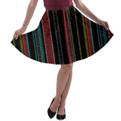 Multicolored Dark Stripes Pattern A Line Skater Skirt