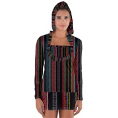 Multicolored Dark Stripes Pattern Long Sleeve Hooded T Shirt