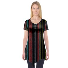Multicolored Dark Stripes Pattern Short Sleeve Tunic