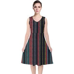 Multicolored Dark Stripes Pattern V Neck Midi Sleeveless Dress