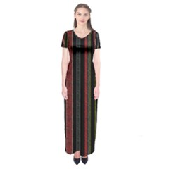 Multicolored Dark Stripes Pattern Short Sleeve Maxi Dress