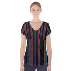 Multicolored Dark Stripes Pattern Short Sleeve Front Detail Top