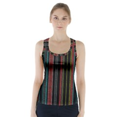 Multicolored Dark Stripes Pattern Racer Back Sports Top