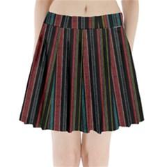 Multicolored Dark Stripes Pattern Pleated Mini Skirt