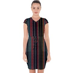 Multicolored Dark Stripes Pattern Capsleeve Drawstring Dress