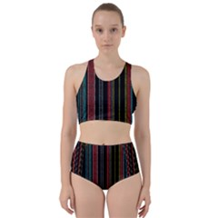 Multicolored Dark Stripes Pattern Racer Back Bikini Set