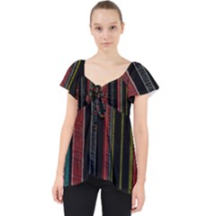 Multicolored Dark Stripes Pattern Lace Front Dolly Top