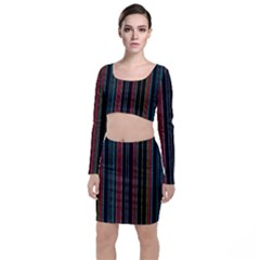 Multicolored Dark Stripes Pattern Long Sleeve Crop Top & Bodycon Skirt Set