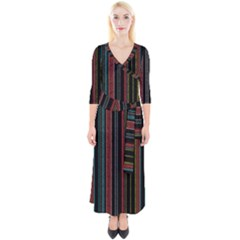 Multicolored Dark Stripes Pattern Quarter Sleeve Wrap Maxi Dress