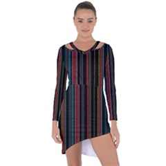 Multicolored Dark Stripes Pattern Asymmetric Cut Out Shift Dress