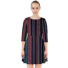 Multicolored Dark Stripes Pattern Smock Dress