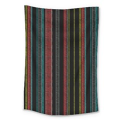 Multicolored Dark Stripes Pattern Large Tapestry