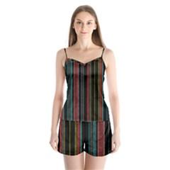 Multicolored Dark Stripes Pattern Satin Pajamas Set