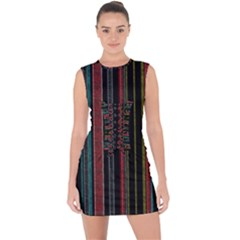 Multicolored Dark Stripes Pattern Lace Up Front Bodycon Dress