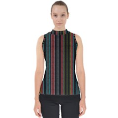Multicolored Dark Stripes Pattern Shell Top