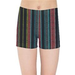 Multicolored Dark Stripes Pattern Kids Sports Shorts