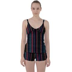 Multicolored Dark Stripes Pattern Tie Front Two Piece Tankini