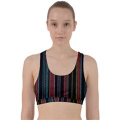 Multicolored Dark Stripes Pattern Back Weave Sports Bra