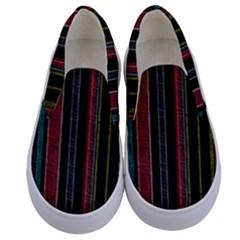 Multicolored Dark Stripes Pattern Kids  Canvas Slip Ons