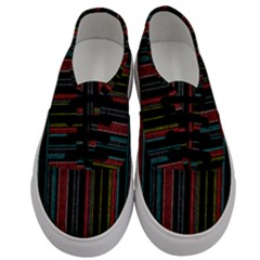 Multicolored Dark Stripes Pattern Men s Classic Low Top Sneakers