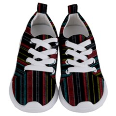 Multicolored Dark Stripes Pattern Kids  Lightweight Sports Shoes
