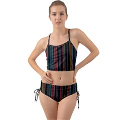 Multicolored Dark Stripes Pattern Mini Tank Bikini Set